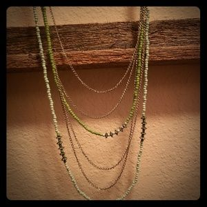 Lime green, sky blue, silver multi strand beads